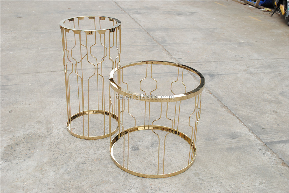 marble top golden polished stainless steel round coffee table set