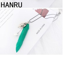 Korean style Fashion Long Chain pearl Pendant Necklaces With Feather Crystal bead Tassel Women New Accessories Charm Jewelry