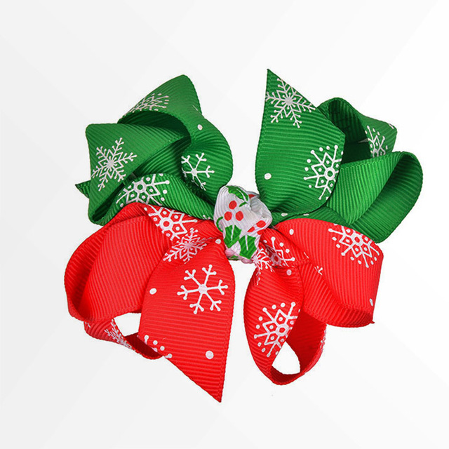 Fashion Holiday Decorative Ribbon Christmas Bow Girls Hair Bows Clips