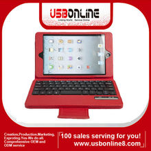 Wholesale Removeable PU leather Wireless Bluetooth Keyboard Case for iPad Mini iPad 4 Red IPMK0005