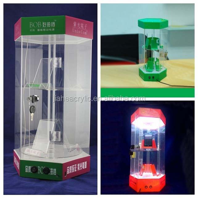 2 floor acrylic rotating tabletop display with LED /LED acrylic rotating tabletop display for mobile phone