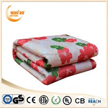 Cheap Polyester Fleece Printed Electric Heated Blanket with fix connector