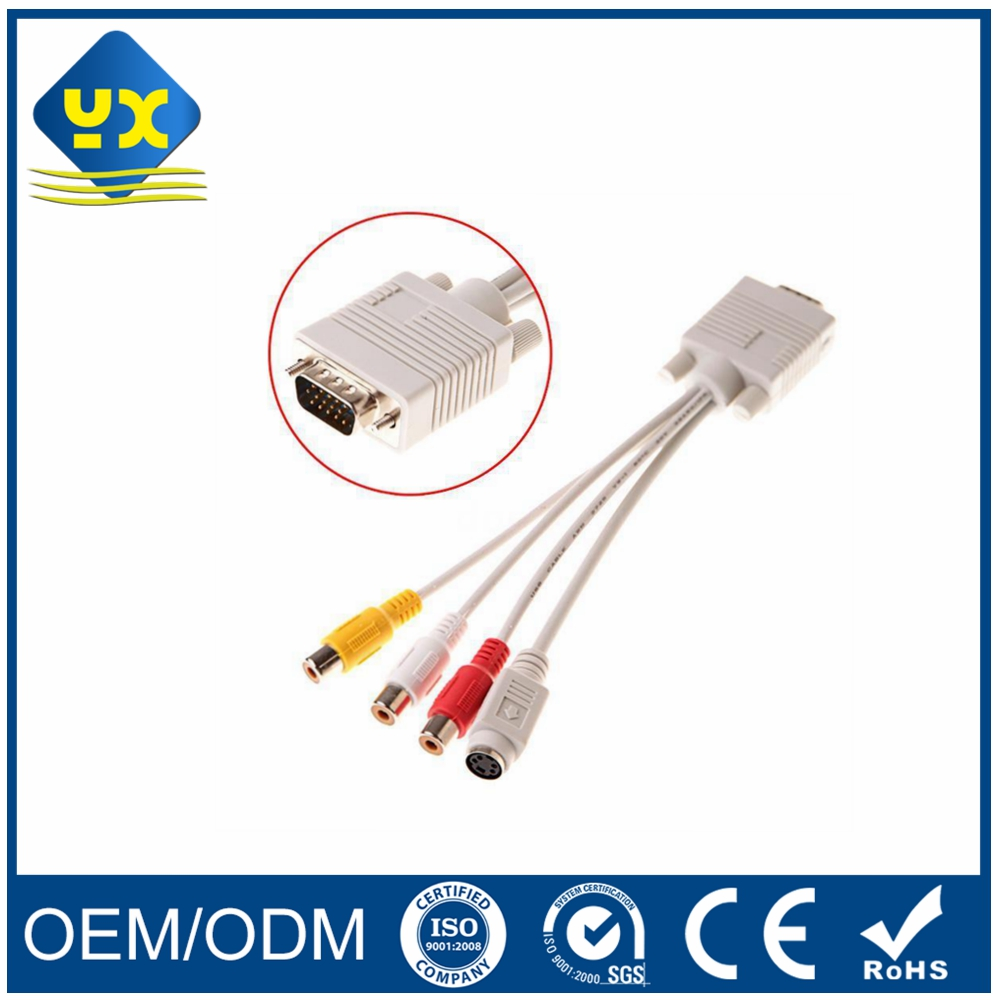 S-video VGA HDB 15Pin to 3 RCA & Mini Din Component PC Computer AV Adapter Cable