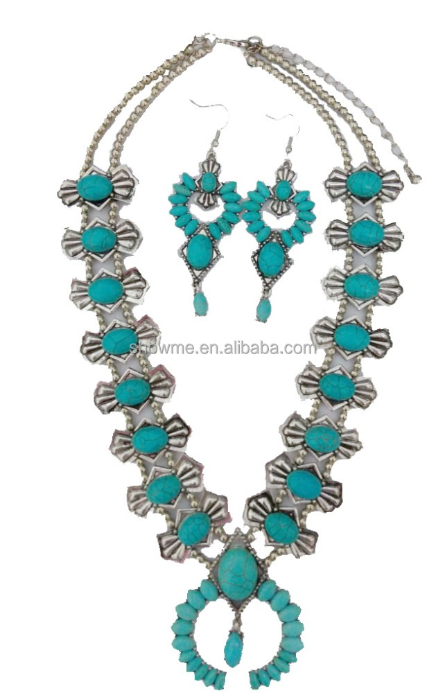 high quality blue turquoise squash blossom necklace latest hot sell necklace jewelry women statement jewelry