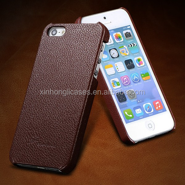 3mm Ultra thin Genuine Leather Case For iPhone5 5G Phone Case, Slim Luxury Lychee Back Vintage Cover for Apple iphone 5 5S