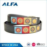 Alfa Wholesale China Factory Strong Man Embroidered Split Leather Belt For Jeans