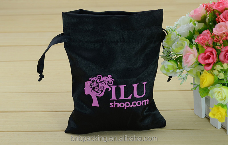 Wholesale Customized Satin Packaging Bags for Hair Bundles Silk Extension Pouches