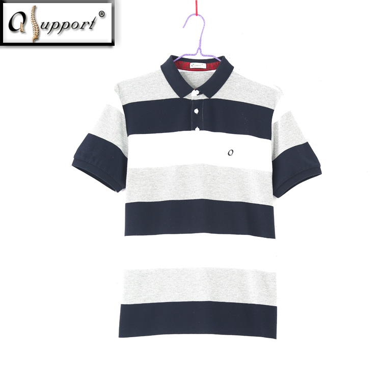 Qsupport Summer Cotton Short Sleeve V-neck Collar Stripe POLO T-Shirt for men-Anti-<strong>pilling</strong>, Anti-Shrink
