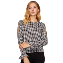 Hot sale knit women clothes big collar tops grid slim long sleeves blouse