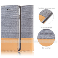 Luxury Jean PU Leather Book Case Cover For iPhone 6 Invisible Magnetic