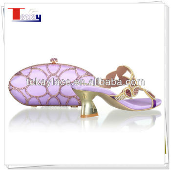 Lilac ladies wedding shoes and matching bag for party