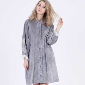 Women Stand-up Collar Flannel Long sleeve Lace Flare sleeve Nightwear Heated bathrobe Nightdress Pajamas
