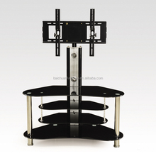 Modern black tempered glass plasma lcd TV stand