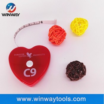 Soft heart-shaped BMI gift tape measure with logo customized/ body measuring tape tailor