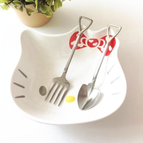 Stainless Steel Dig Shovel Style Kids Spoon & Fork