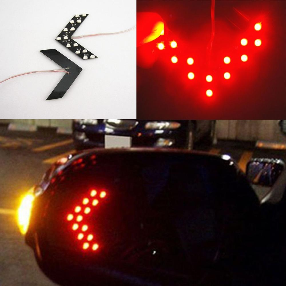 2 Pcs Red Arrow Indicator 14SMD LED Car Side Mirror Turn Signal Light