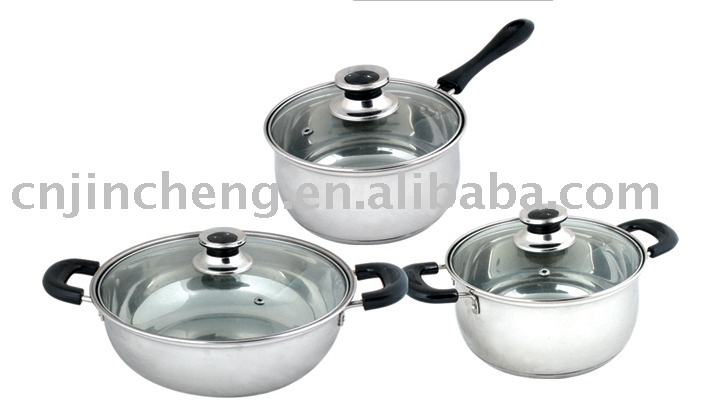 3 pcs stainless steel pot set