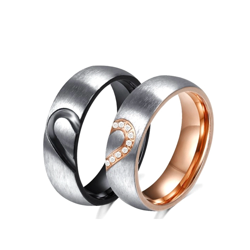 Stainless steel heart doamiond inlay egnagement couple rings rose gold black promise couple love band rings for valentines day