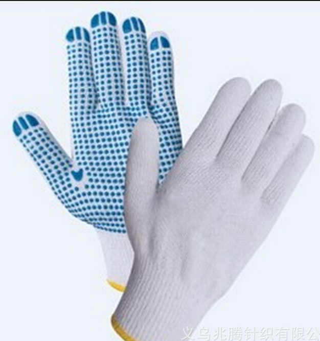 white gloves cotton pvc dotted safety working gloves