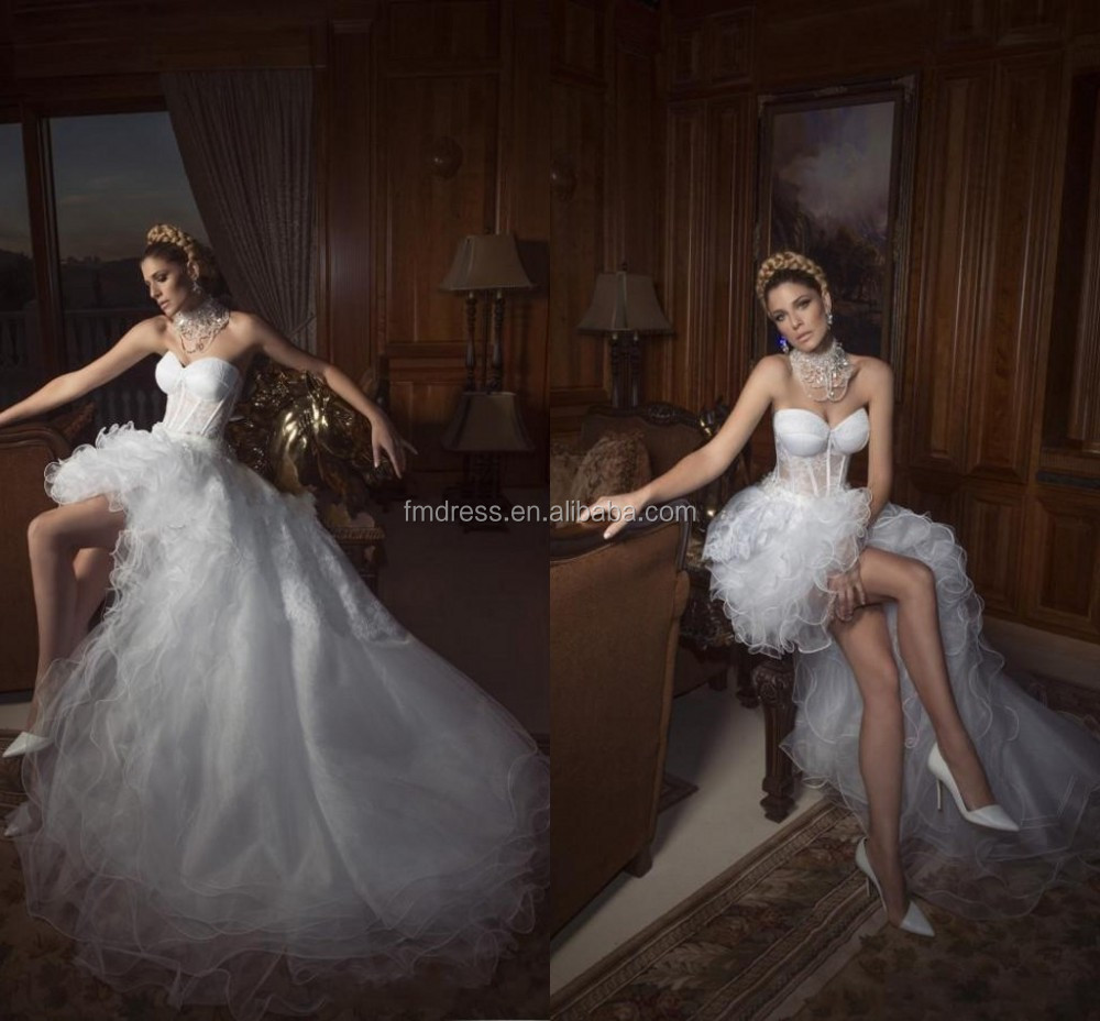 2015 Sexy High Low Wedding Dresses Sweetheart Corset Bodice Princess Prom Gown See Through Organza Summer Beach Dress New