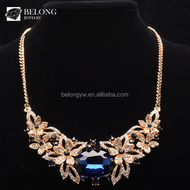BLN0187 accessories for women gem jewelry flowers gold nacklace 18K