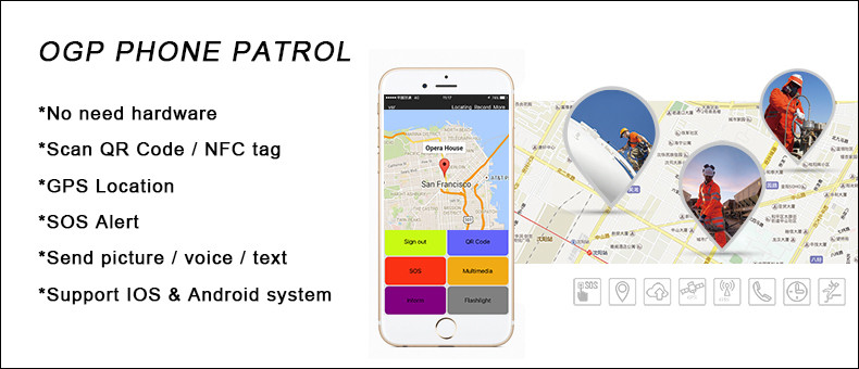 rfid scanner and gprs guard tour patrol system OGP Phone Patrol APP