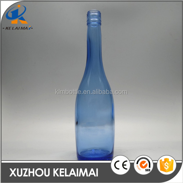 500ml Special Long Neck Light Blue Glass Whiskey Bottle