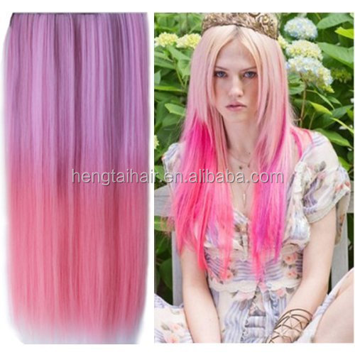 Light Purple to Pink Long Straight Hair Extension Fashion Ladies Synthetic Hair Clip In Hair Extensions Heat Resistant Hairpiece