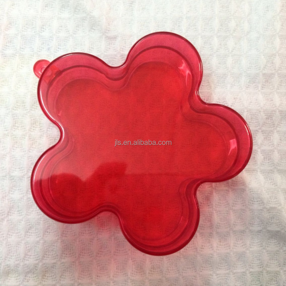 GPPS material plastic transparent flower shape chocolate gift box