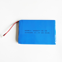 flat lithium 12v lipo battery 11.1v rechargeable lithium polymer battery 346087-3S 2100mah battery