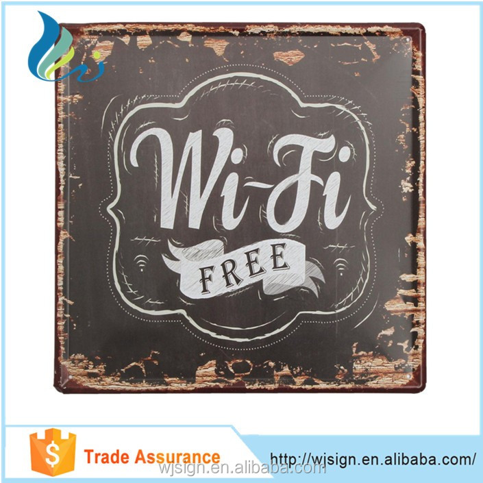 Home Decoration Wi-Fi Free Logo OEM Custom Vintage Tin Metal Signs Wholesale