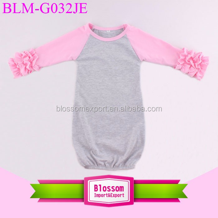 Wholesale Children's Boutique Clothing Knit Infant Toddler Kids Sleeping Gown Long Sleeves Icing Ruffle Raglan Gown Baby