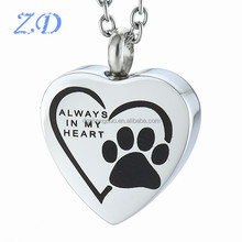 "Paw Print Heart Urn Pendant pet cremation charms Memorial Keepsake Jewelry "" You Always In My Heart "" necklaces to put ashes in"