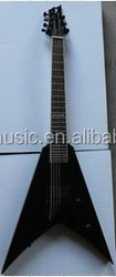 Black/Red/Natural Color Flying V Guitar