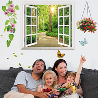 Removable custom creative PVC bedroom warm home 3D fake window trees wall sticker