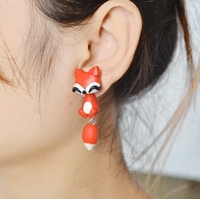 Creative handmade small fox fashion personalityTremella nail ear jewelry ceramic earrings accessories