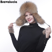 Genuine fur raccoon hat women Real Raccoon Fur for Russian women trapper Hats