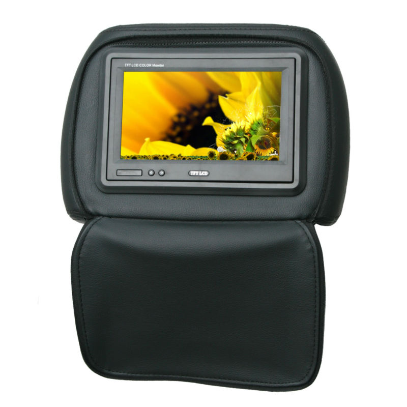 direct factory 7 inch Universal headrest TFT LCD car monitor with copy leather pillow