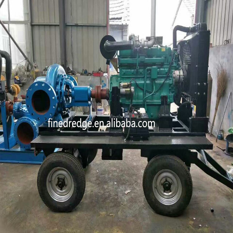 12 inch horizontal farm irrigation pump split case dewatering pump 4 wheel trailer pumps