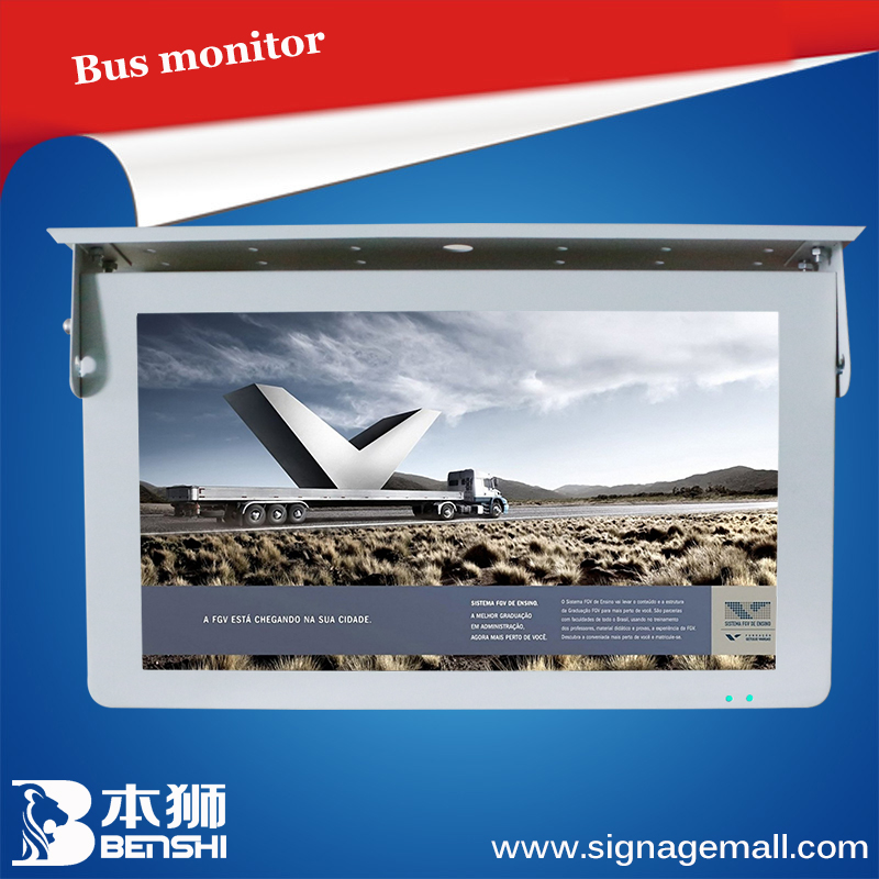 POP advertising display 20 inch ceiling suspended car/bus led display screen/monitor/digital signage