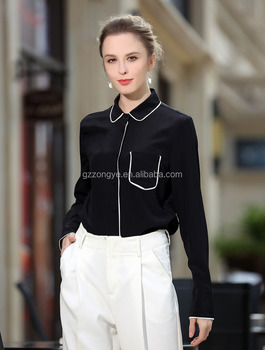 2017 Fashion real silk pure color business suit OL style comfortable lapel blouse CHINA suplier