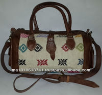 Handmade moroccan kilim bags brown leather and hand woven kilim made in morocco