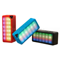 Mini Multi-Color Flash LED Light Wireless Speaker with Built-in Microphone Support USB AUX FM Radio