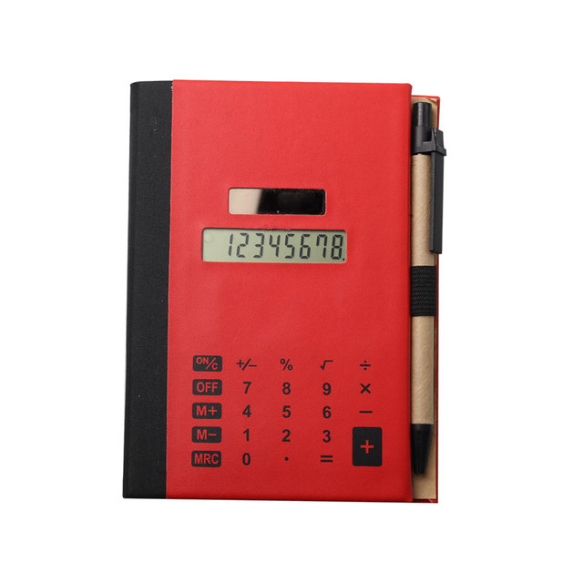 PU Material Promotional Red Notebook Calculator with Pen
