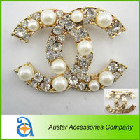 Wholesale channel 45*60mm fashion pearl rhinestons brooch