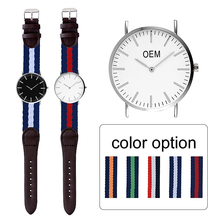 Low MOQ Logo Custom Watch Multi Colors Strap Custom-Made Watch Nylon Strap White Black Face Customized OEM Watches