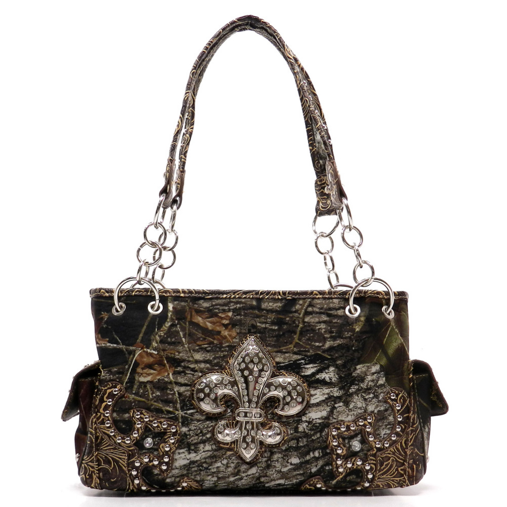 Richmilan--2017New arrival PU <strong>leather</strong> MOSSY <strong>OAK</strong> Western Camo Fleur De Lis Shoulder Bags women hangbags