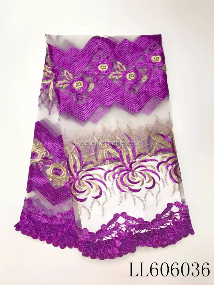 LL606036- (1) African style purple hot sale new french embroidery lace fabric