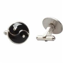 Yiwu Aceon Stainless Steel Dome Surface Black Enamel Yin Yang Cuff link