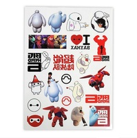 Free shipping wholesale 500sheets A4 body tattoo sticker animation products movie stars fans big hero 6 concert supply